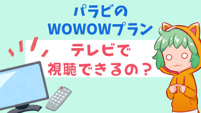 WOWOWプランはテレビで視聴できるの?