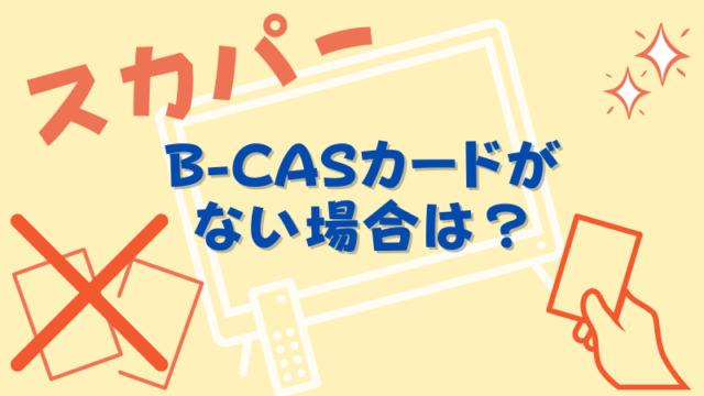 B-CASカードがない場合はどうするの?